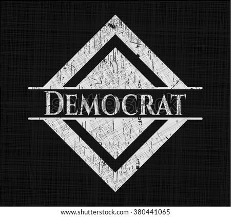 Democrat chalk emblem written on a blackboard - stock vector