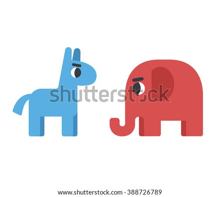 Democrat donkey and republican elephant. Political elections illustration. Blue donkey for democrats and red elephant for republicans. Conservative elephant and liberal donkey. - stock vector