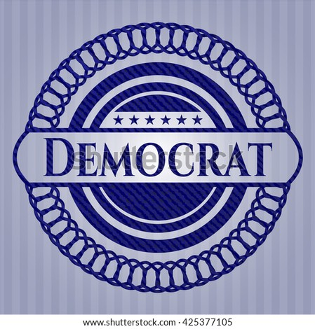 Democrat emblem with denim texture - stock vector