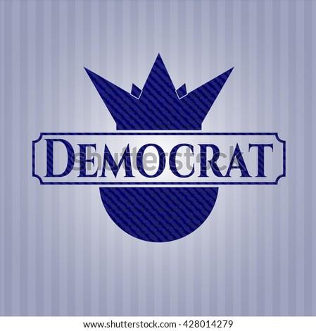 Democrat with jean texture - stock vector