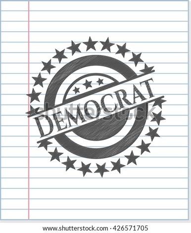 Democrat with pencil strokes - stock vector