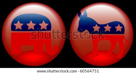 Democratic and Republican buttons