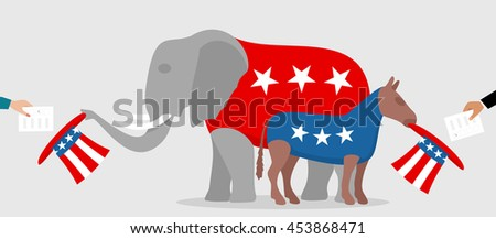 Democratic donkey and republican elephant hold sam hats in which voters put election bulletins