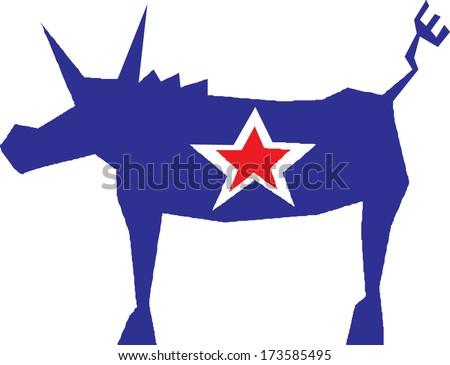Democratic Party donkey symbol  - stock vector