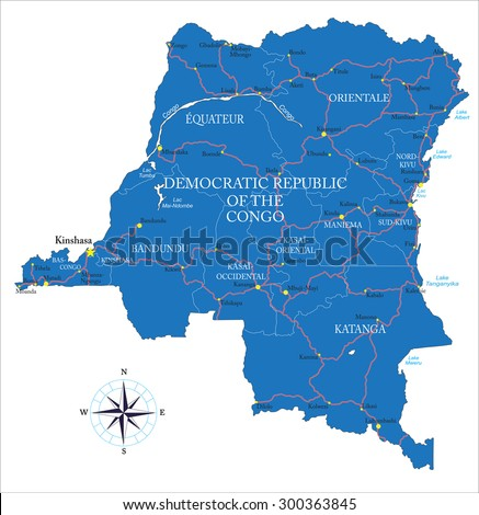 Democratic Republic of the Congo (former Zaire) map   - stock vector