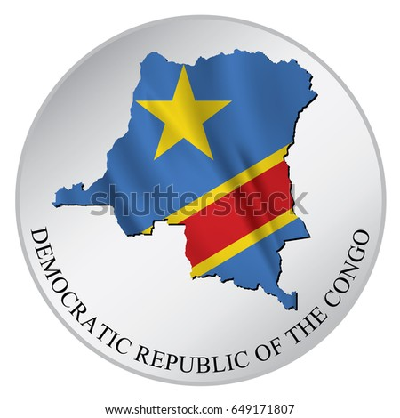 Democratic republic of the congo vector sticker with flag and map label round tag