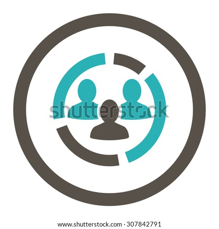 Demography diagram vector icon. This rounded flat symbol is drawn with grey and cyan colors on a white background. - stock vector