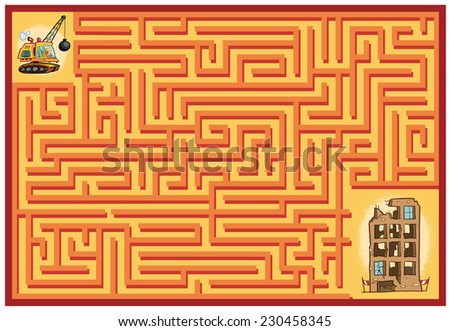 Demolition man Maze Game (help the demolition worker find his ruined building - Maze vector puzzle)  - stock vector