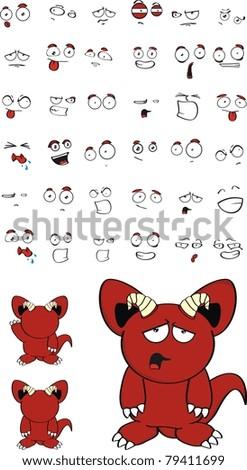 demon cartoon set  in vector format - stock vector