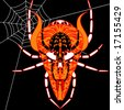 demonic cross between a skull, a demon, and a spider shown with a spiderweb in the background - stock photo