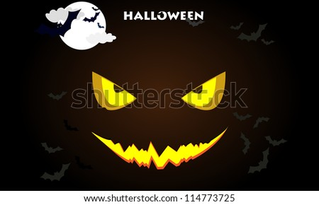 Demonic Halloween pumpkin with glowing eyes on the background of the moon and bats - stock vector