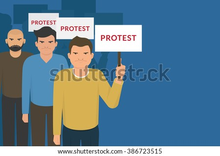 Demonstration and protest concept crowd of angry people with banners. Flat illustration of political protesters and politic crisis poster, revolution placard concept  - stock vector