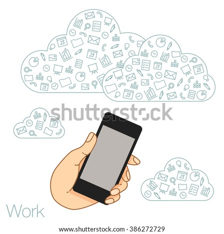 Demonstration screen phone for presentation applications. Icons set in flat style on background. Illustration of cloud technology and services. Hand with mobile. Social media and networking in device