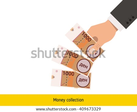 Denar sign icon. Denar in hand. Three Denar. Throwing Denar banknote. Denar sign icon new. Denar banknote big. Best Denar illustration. isolated Denar in hand. Denar banknote. Macedonian Denar cash. - stock vector