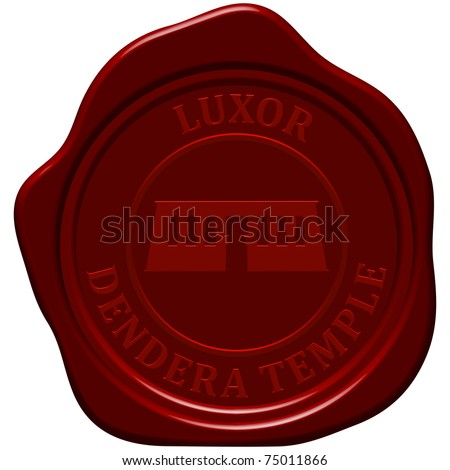 Dendera temple. Sealing wax stamp for design use. - stock vector