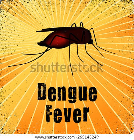 Dengue Fever, blood filled mosquito, graphic illustration with gold ray grunge background. EPS8 compatible. - stock vector
