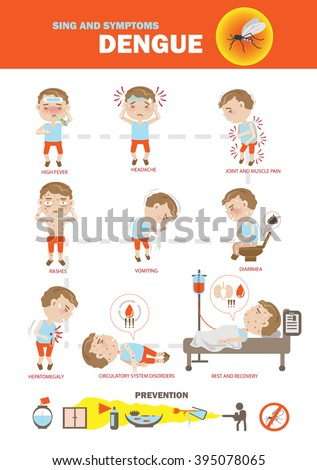 Dengue fever symptoms info graphics and icon  prevention. vector illustration. - stock vector