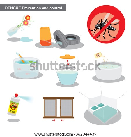 dengue prevention and control - stock vector
