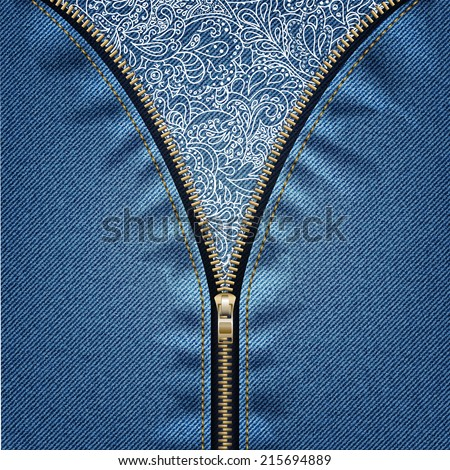 Denim background with open zipper and floral pattern. - stock vector