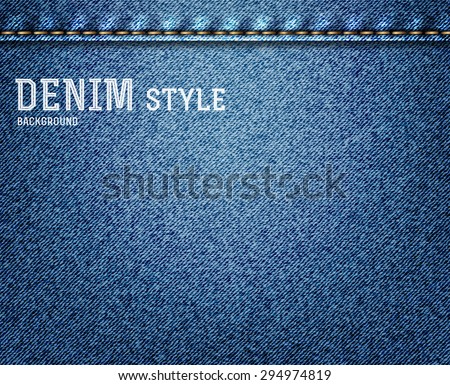 Denim, blue jeans texture with label. Vector illustration. - stock vector
