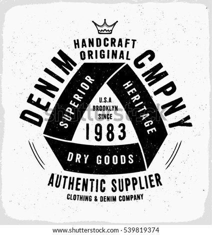 Denim company print for t shirt or apparel retro artwork in black and white