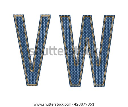Denim fabric letters. Vector illustration.