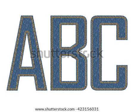Denim fabric stitched letters. Vector illustration.