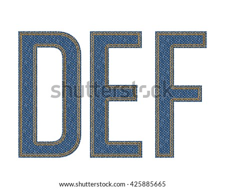 Denim fabric stitched letters. Vector illustration. - stock vector