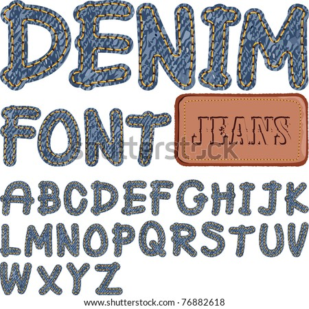 denim font - stock vector