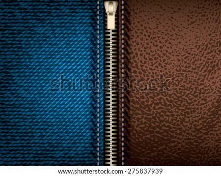 Denim jeans and brown leather with zipper, vector - stock vector