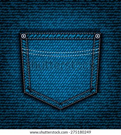 Denim jeans pocket, vector part of clothes - stock vector