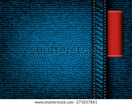 Denim jeans vector texture with red label - stock vector