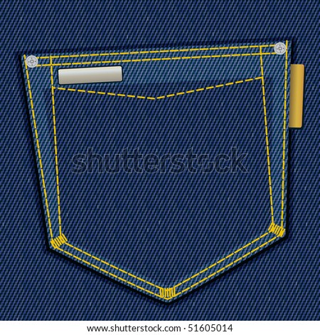 Denim pocket with empty label, vector illustration, EPS10 - stock vector