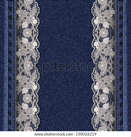 Denim texture with attached white lace ribbons. Beautiful frame for greeting card or cover. Vector illustration. - stock vector