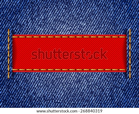 Denim texture with label ribbon. Vector illustration - stock vector