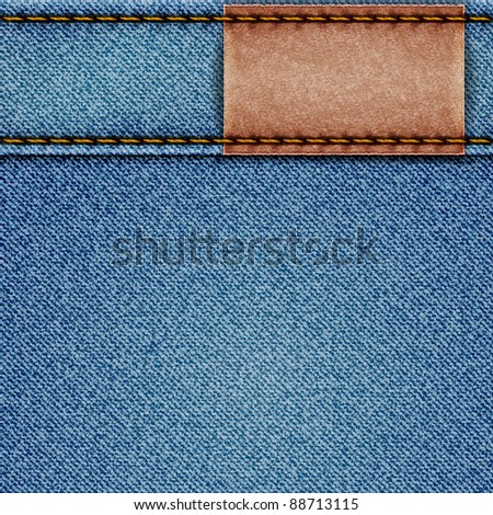 Denim texture with leather label. Vector eps10 illustration - stock vector