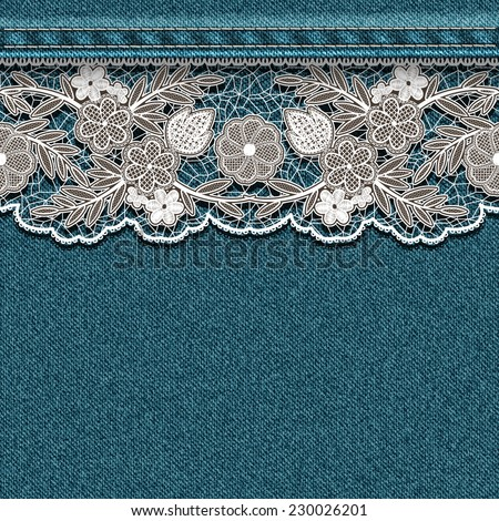 Denim texture with sewn white lace ribbon. Vector illustration. - stock vector