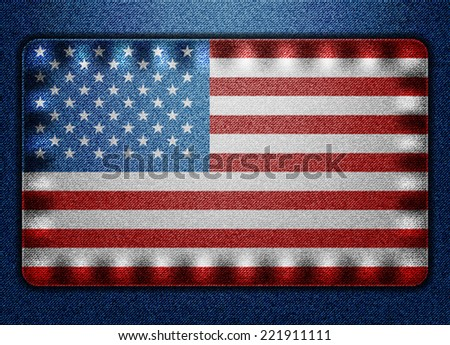 Denim USA flag - stock vector