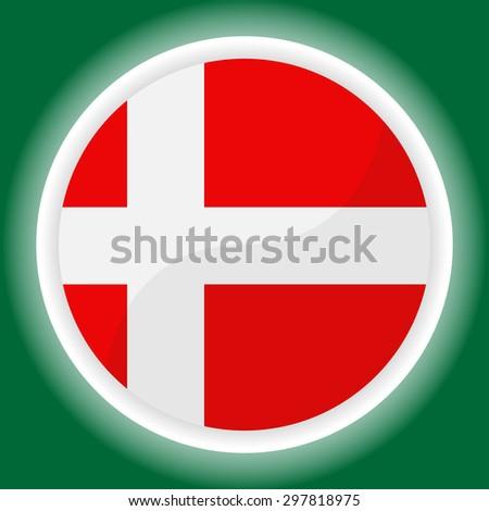 Denmark flag button on  green  background - stock vector