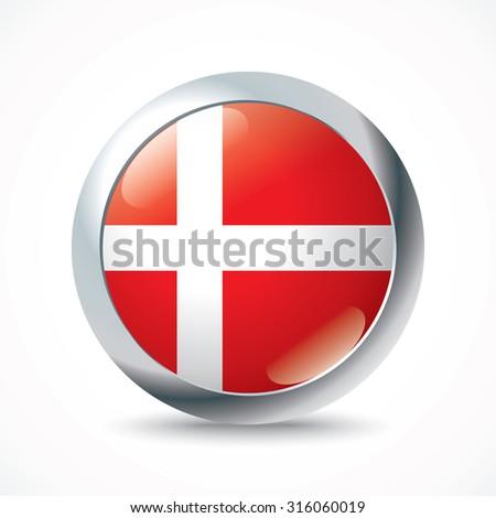 Denmark flag button - vector illustration - stock vector
