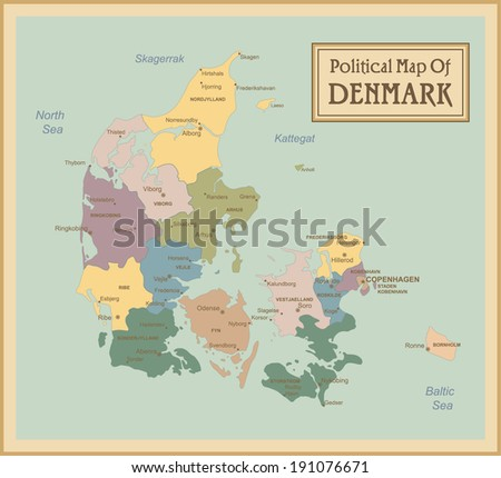 Denmark-highly detailed map.All elements are separated in editable layers clearly labeled. Vector  - stock vector