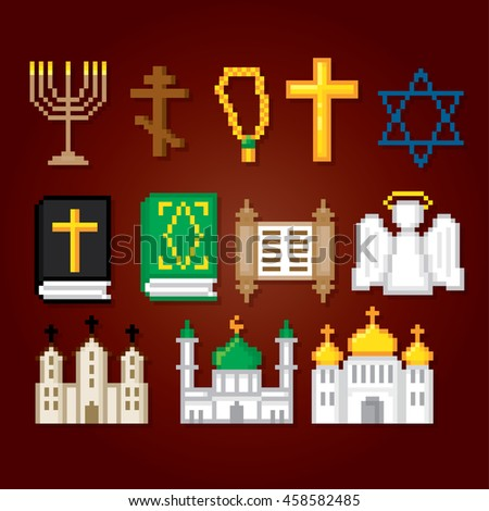 Denmark icons set. Pixel art. Old school computer graphic style. Games elements. - stock vector