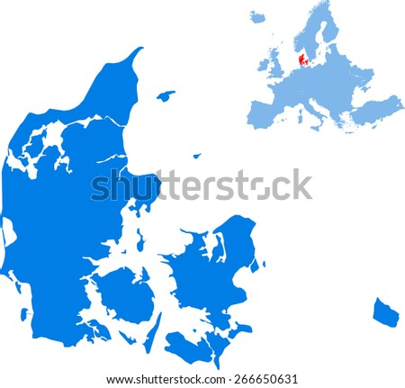 Denmark map - stock vector