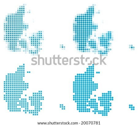 Denmark map mosaic set. Isolated on white background. - stock vector