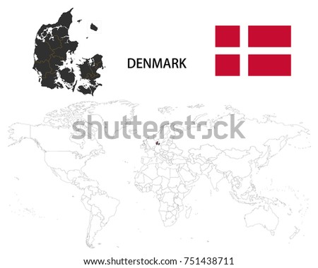 Denmark map on world map flag stock vector 751438711 shutterstock denmark map on a world map with flag on white background gumiabroncs Gallery
