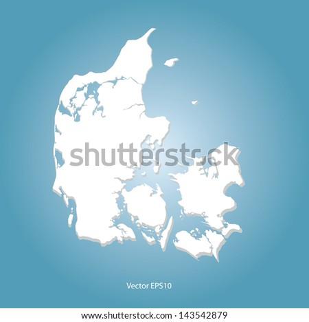 Denmark map vector - stock vector