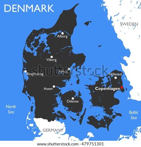 Denmark Map Vector Detailed Color Denmark Stock Vector 479751301 ...