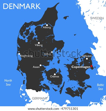 denmark map vector detailed color denmark map
