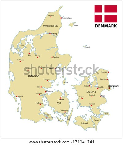 Denmark map with flag - stock vector
