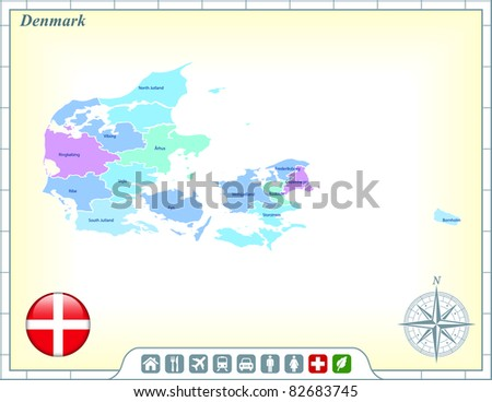 Denmark Map with Flag Buttons and Assistance & Activates Icons Original Illustration